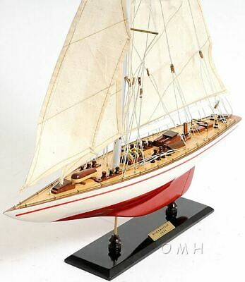 "America's Cup Endeavour J Class Sailbboat 24"" Wooden Model Yacht Assembled"