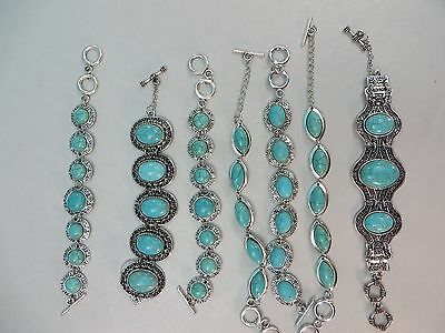 *US Seller*lot of 20 pc antique vintage style turquoise gemstone toggle bracelet