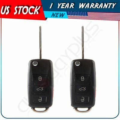 2 Replacement Flip Key FOB Shell Remote Case Uncut For Volkswagen VW Mk4 MK5 Typ