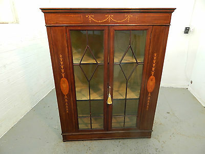 antique,mahogany,bookcase,cabinet,inlaid,glazed,shelves,2 door,glazed sides,