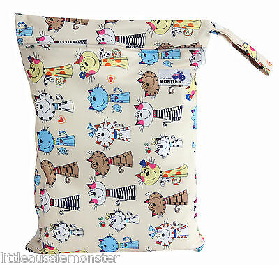 Happy Cats Large Zip Wet Bag baby for cloth nappies, wet swimwear, towels