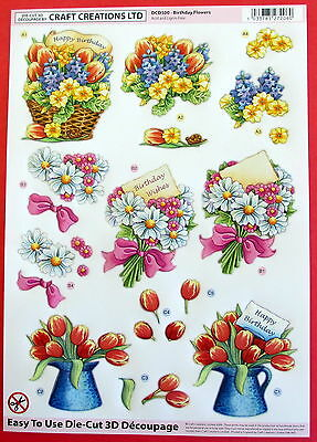 """A4 Die Cut 3D Decoupage """"flowers"""" Sheet No Cutting Easy To Use Dcd500"""