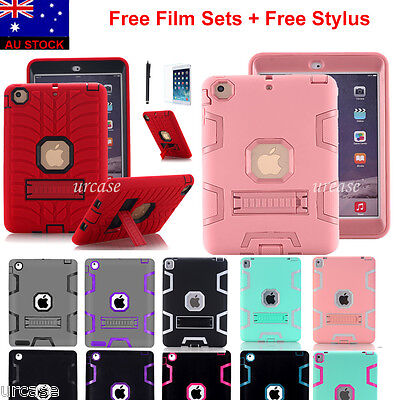 Shockproof Heavy Duty Rubber With Hard Stand Case Cover Fr Apple iPad Mini 1/2/3