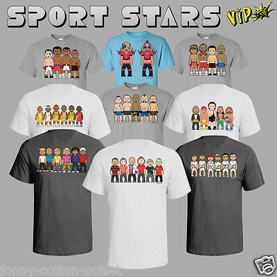 VIPwees Mens T-Shirt Sporting Legends Inspired Caricatures Choose Your Design