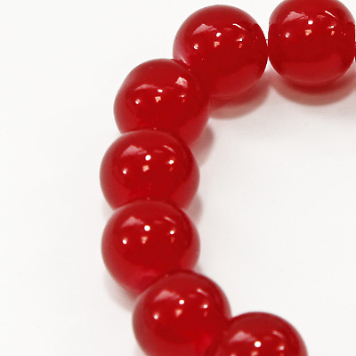 10mm Round Glass Marble Bead - Red - 1 String (21 Beads)