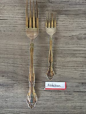 Silver Plated Flatware Oneida USA  Affection Pattern Forks 2 Pieces 1960