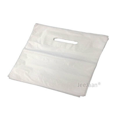 """500 White Patch Handle Carrier Gift Retail Shopping 22""""x18""""+3"""" Plastic Bags"""