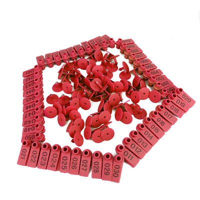 100 Sets Livestock Animal Dog Goat Sheep Ear Tags 001-100 Numbers Eartag Red