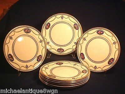 "8 Antique Royal Worcester 10 1/8"" Dinner Plates in The Cameo Pattern"