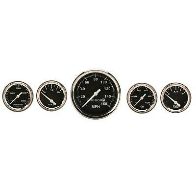 Speedway Complete Black 5 Gauge Set w/ Speedo, Volt, Fuel Temp & Oil Pressure