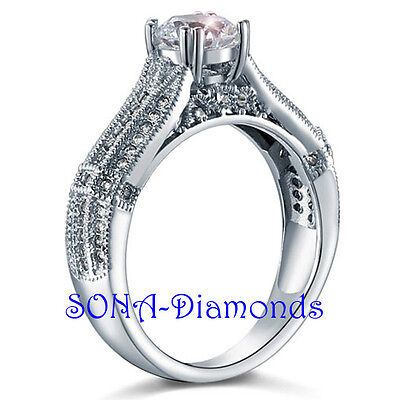Round Vintage Man Made SONA NSCD Diamond SILVER 925 + White Gold Engagement Ring