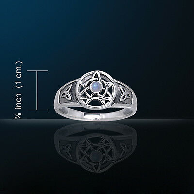 Druid White Bronze Triquetra Ring WZRI058 Rainbow Moonstone