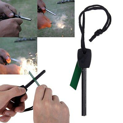 Camping Hunting Magnesium Flint And Steel Striker Survival Fire Stick Green New