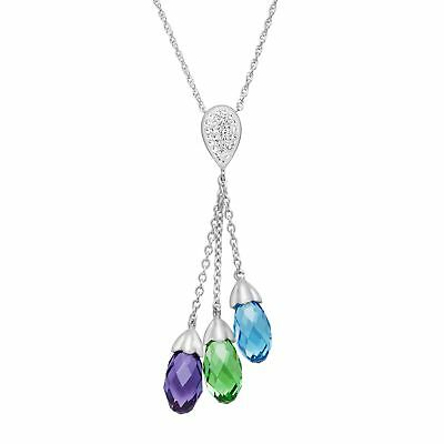Crystaluxe Lariat Pendant Necklace with Swarovski Crystals in Sterling Silver