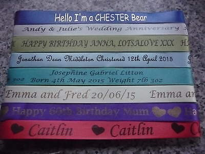 PERSONALISED RIBBON 2 METRES  7MM 10MM  or 15MM WIDE PRINTED WEDDING  OCCASIONS