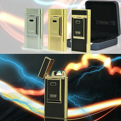 Luxury Tiger Foil Rechargeable Battery USB Electric Windproof Flameless Lighter