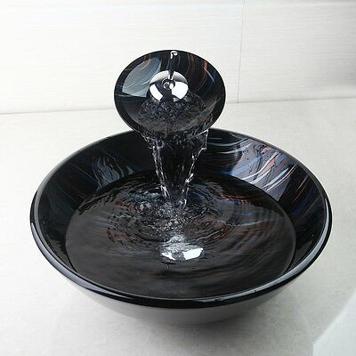 Handcraft Bathroom Tempered Glass Black Basin Vessel Sink Bowl and Faucet Combo