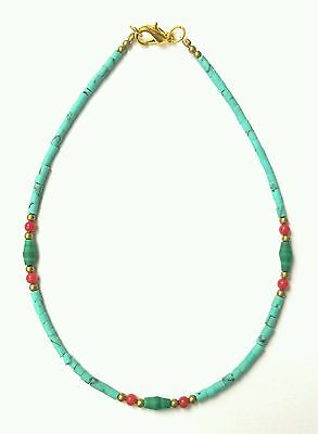 Afghan Natural Turquoise Tiny Seed Beads Bracelet with Malachite & Coral Jewelry