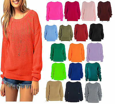 1e462d6b800 Ladies Women Knitted Over size Fisherman Baggy Jumper Chunky Sweater TOP  8-20