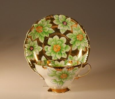 Splendid Trimont China Handpainted Gilded Floral Cup and Saucer, Occupied Japan