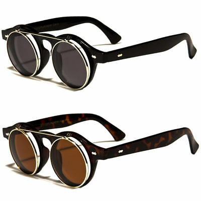 Cool Flip Up Lens Steampunk Vintage Retro Style Round Sunglasses Tortoise Gold q