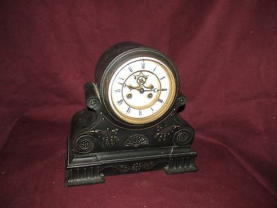 Antique American Victorian Black Marble Mantle Clock Hammon and Koch New York
