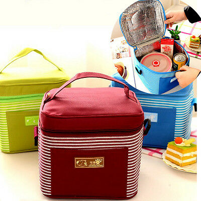Portable Travel Insulated Thermal Cooler Lunch Box Carry Tote Picnic Storage Bag