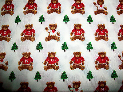Noel Bears And Christmas Trees On White Cotton Quilt Fabric