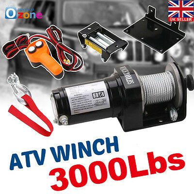 3000LBS 12Volt Electric ATV Recovery Winch w/ Steel Wire Boat Truck SUV
