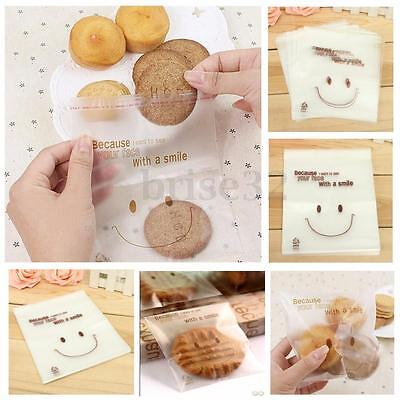 50/100X Smiley Face Cello Self Adhesive Candy Cookie DIY Bags Christmas Wedding