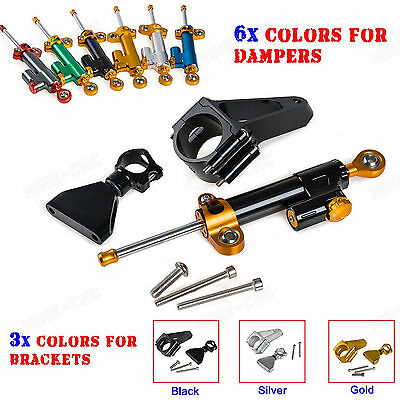 Adjustable Steering Damper & Mounting Kit For Honda CBR600 F4i 2001 2002-2007