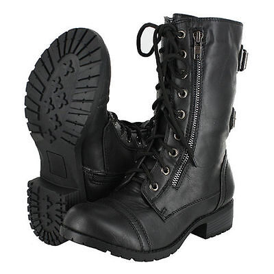 Military Combat  Motorcycle Lace Up Women Boots Zipper Soda Dome