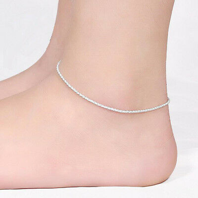 Fashion New 925 Sterling Silver Plated Shining Chain Anklets Bracelet