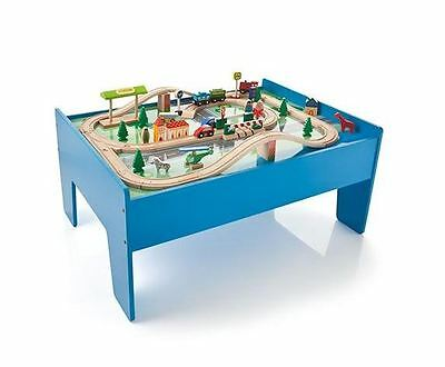 Wooden Train Set with Table - Play Toy For Kids Children Toddler Christmas Gift