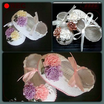Handmade Crochet Baby Girl Ballet Slippers Satin Flowers Shoes