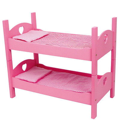 51cm, 2 x Single Bunk bed Dolls Dollhouse furniture Wood Mattress Bedding pink