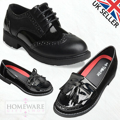 Girls Black Trendy Loafer Shoes & Brogue Shoes Perfect For School Uk Size 13J-5L