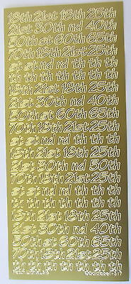 MIXED OCCASION NUMBERS 8.5MM GOLD 18th 21st 50th ETC PEEL OFF STICKERS