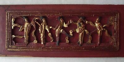 "Wonderful Antique Chinese Carved Wood Gold Gilt Temple Panel-High Relief 15+"" L"