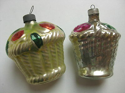 "Antique German Christmas Silver Glass Ornaments ""2 Baskets"""