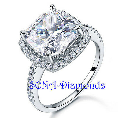 Big Vintage Man Made SONA NSCD Lab Diamond SILVER 925 White Gold Engagement Ring