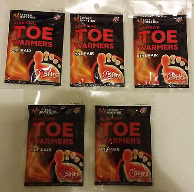 5 Little HOTTIES Pairs 10 Toe /Foot Warmers Heat Pack Socks Heater Snow Ski Hand