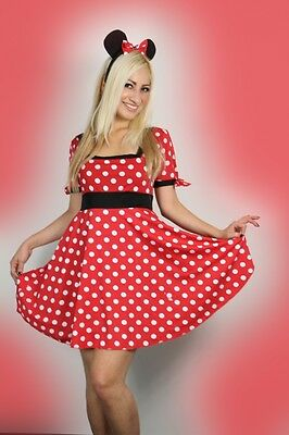 Sexy Ladies Halloween Womens Minnie Mouse Fancy Dress Costume outfit 6-16