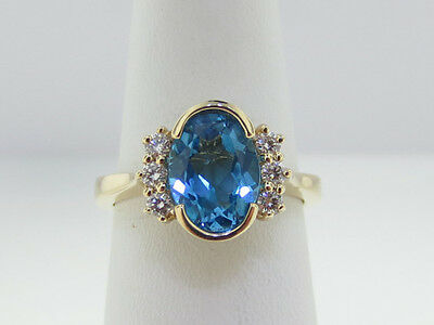 44aff35ba Estate Natural Blue Topaz Diamonds Solid 14k Yellow Gold Ring FREE Sizing