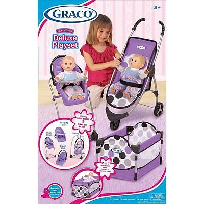 3pc Girls Baby Doll Accessory Set Stroller High Chair PacknPlay Toy PURPLE
