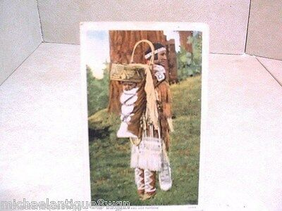 Vintage 1930's Native American Apache Woman Carrying Papoose Post Card
