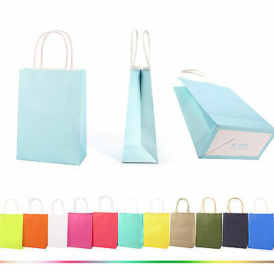 Colors Kraft Paper Gift Bag With Handles Luxury Wedding Party Bags Recyclable