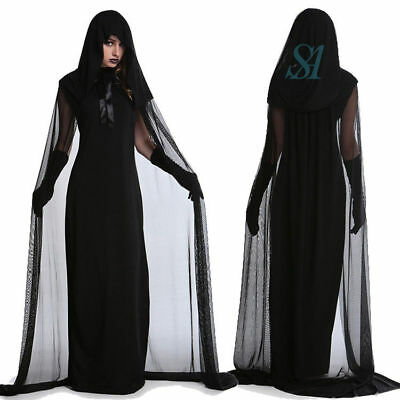 Black Hooded Cloak Wicca Robe Medieval Witchcraft Cape Halloween Cosplay Costume