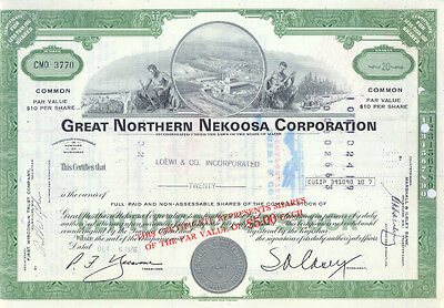 USA Great Northern Nekoosa Corporation alte Aktie 1976 dekorativ