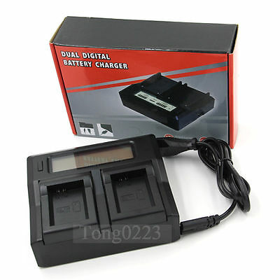 LCD Show Dual Battery Charger LP-E6 for Canon 70D 60D 6D 5Ds 7D 5D Mark II/III